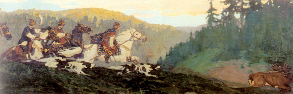 Nicholas Roerich. Morning Prince's hunting