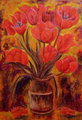 Владимир Иванович Осипов. Red tulips, 60 - 40, wood, oil, 10.17 g © (impressionism)