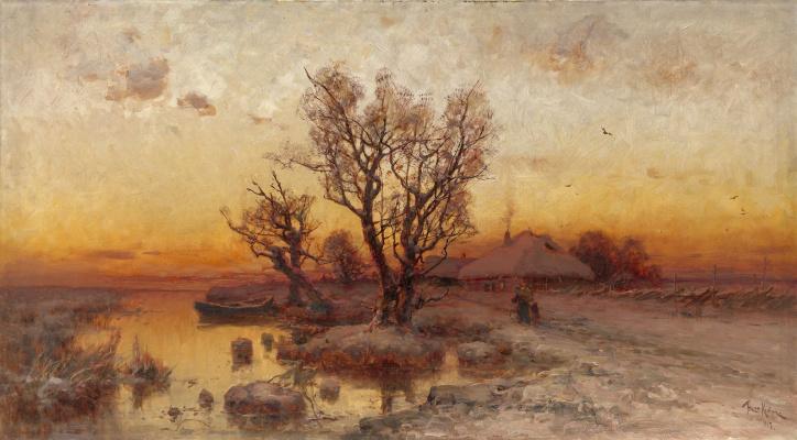 Julius Klever. Sunset over a Ukrainian village