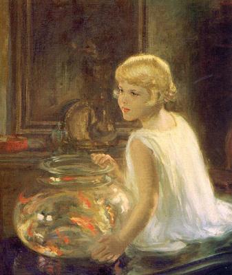 Генри Саллем Хаббелл. Девочка с аквариумом