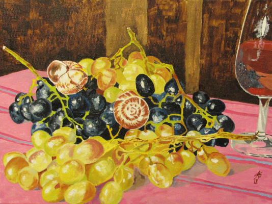 Artashes Badalyan. Still life with grapes and snails - hm - 30x40
