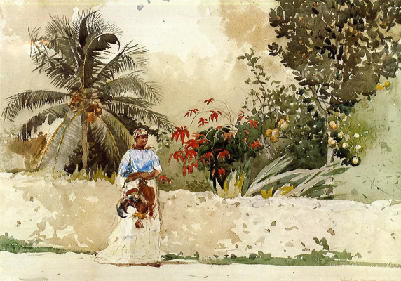 Winslow Homer. On the way to the market. Bahamas