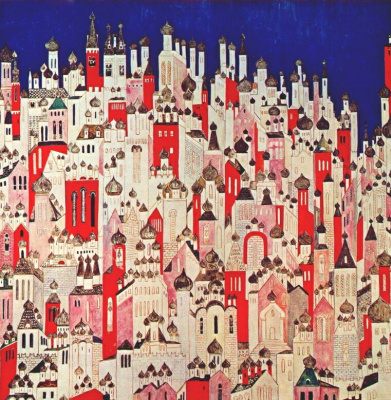 "Natalia Goncharova. The final design of the backdrop for the ballet ""the Firebird"" by Igor Stravinsky"