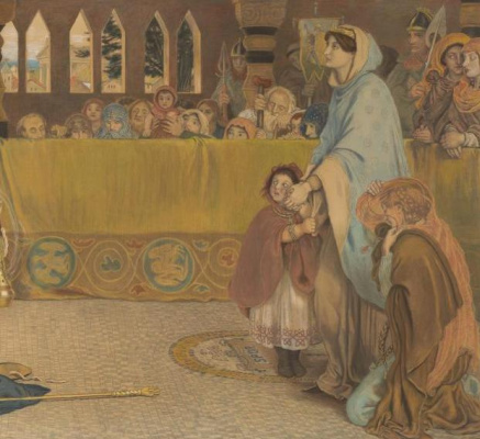 Ford Madox Brown. The baptism of Edwin, king of Northumbria. Fragment. Queen with children