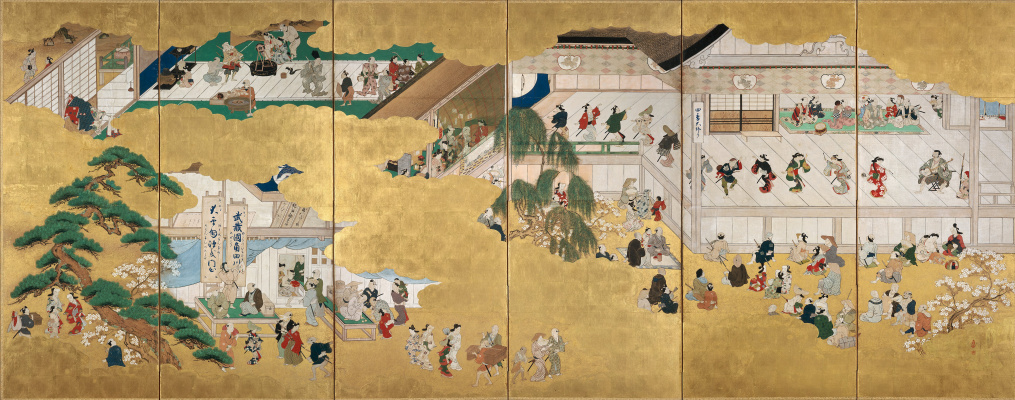 Hishikawa Moronobu. Scenes from the Kabuki in the Nakamura. Painted screens