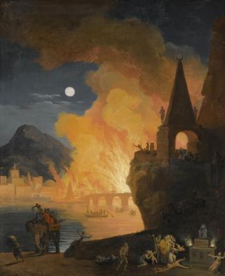 Пьер-Жак Вольер. Ночной пейзаж с фигурами, бегущими из горящей Александрии.