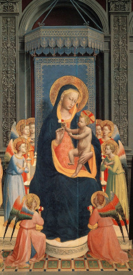 Fra Beato Angelico. Madonna and Child surrounded by eight angels. Altar of Saint Dominic in Fiesole