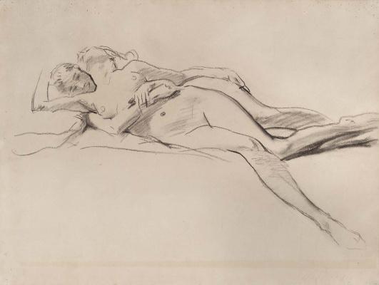 """John Singer Sargent. Sketch for """"satin and Hesperide"""". Hesperide together"""
