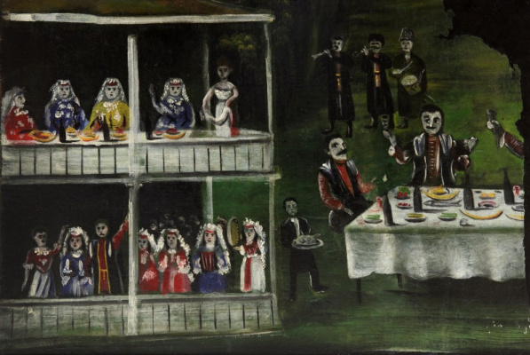 Niko Pirosmani (Pirosmanashvili). Carousing in front of a two-story house. Part of the picture