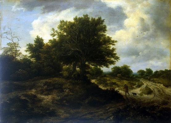 Jakob van Isaacs Ruisdael. Landscape with a traveler