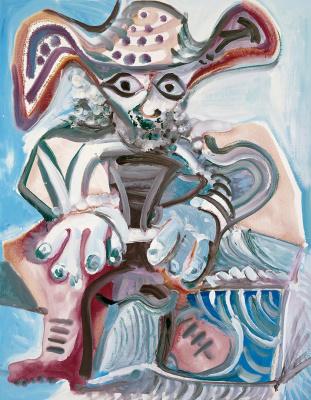Пабло Пикассо. Сидящий мужчина в шляпе