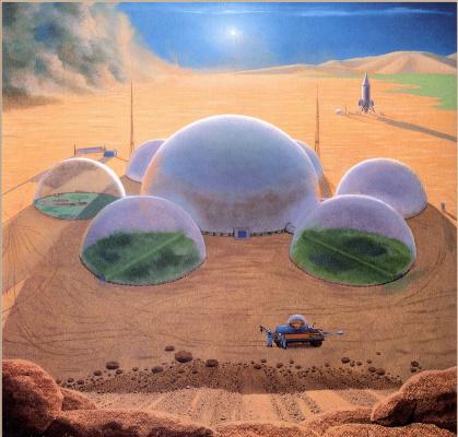 Чесли Бонестелл. Купола на Марсе