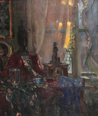 Adalbert Mikhailovich Erdeli. Still life with a clock