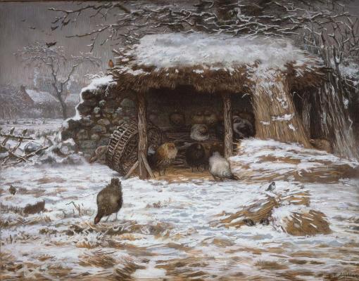 Jean-François Millet. Winter in the barnyard
