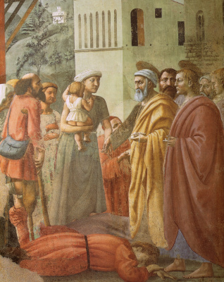 Tommaso Masaccio. Brancacci Chapel. Distribution of alms and death of Ananias. Fragment of the fresco after restoration