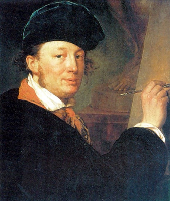 Self portrait in a velvet beret, with the spring