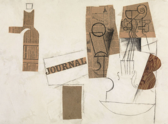 Pablo Picasso. Siphon, glass, newspaper and violin