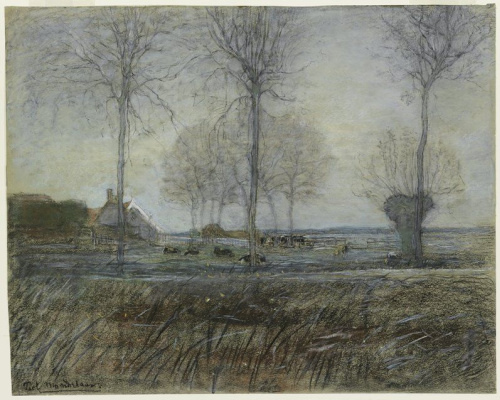 Piet Mondrian. The farm is surrounded by three tall trees in the foreground