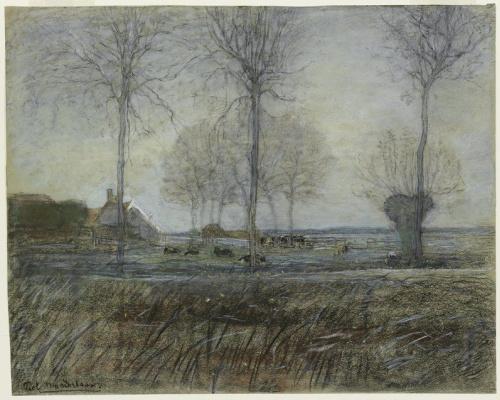 Пит Мондриан. Ферма в окружении трех высоких деревьев на переднем плане