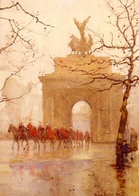 Роуз Мейнард Бартон. Угол Гайд-парк с конной кавалерией