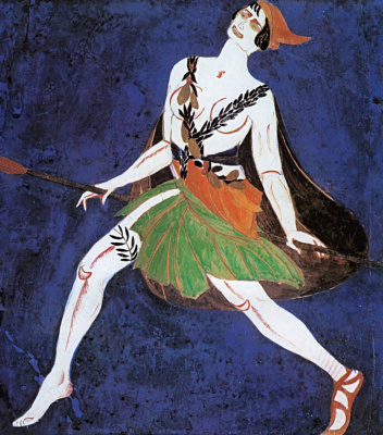"""Alexandra Exter. The maenad. Costume design for the play """"Famira Mousagetes"""" on the play by I. Annensky. Moscow Chamber theatre"""