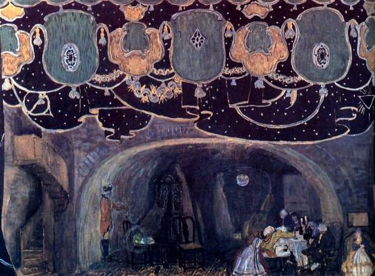 "Alexander Yakovlevich Golovin. Interior. A sketch of the scenery for the play J. D. Belyaev ""Red tavern"""