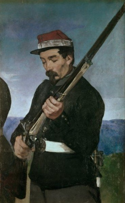 "Edouard Manet. Soldiers. A fragment of the painting ""the Execution of Emperor Maximilian"""