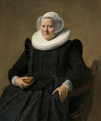 France Hals. Portrait of an elderly lady sitting with a book in his right hand