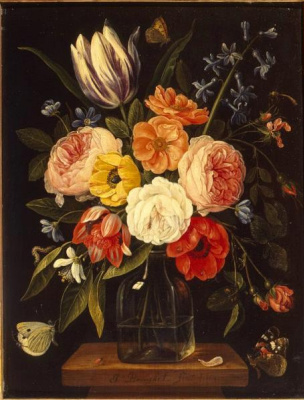 Jan van Kessel Elder. Flowers in glass bottles