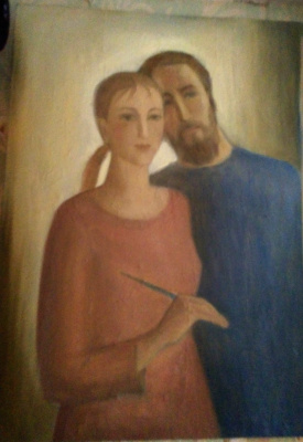 Tatyana Matveyevna Gromyko. Self-portrait with her husband.