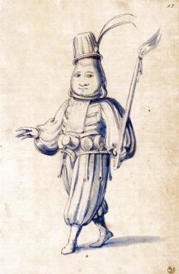 """Джузеппе Арчимбольдо. Портрет фигуры с факелом. Эскиз для картины """"Повар"""""""