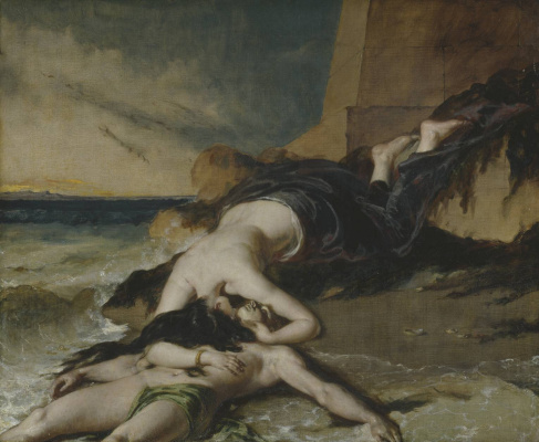 Etty William. Gero, who threw out of the tower at the sight of the drowned Leandra, dies on his body