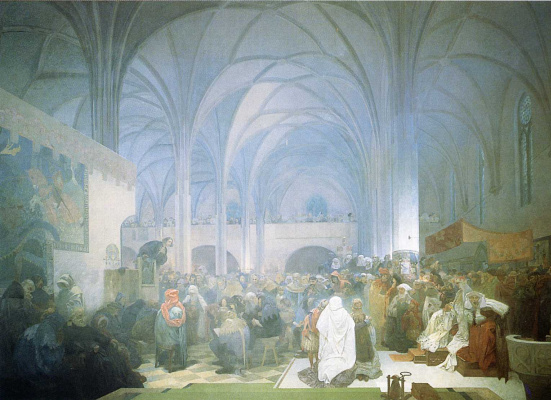 Alphonse Mucha. The preaching of Jan HUS in the Bethlehem chapel