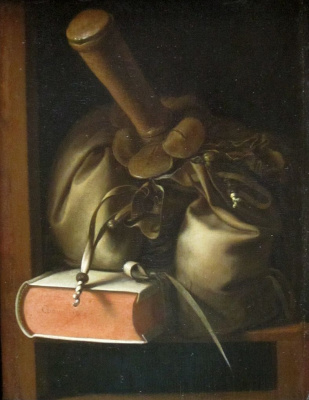 Gerrit (Gerard) Dow. Still life with a book and a wallet