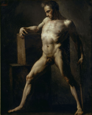 Théodore Géricault. Academic sketch of standing nude