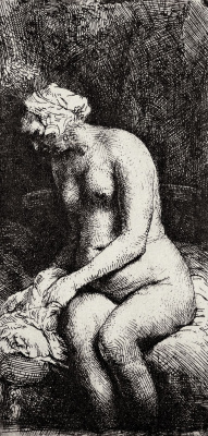 Рембрандт Ван Рейн. Обнаженная с ногами, опущенными в воду