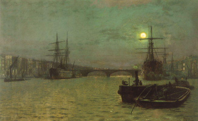 John Atkinson Grimshaw. The bridge lit by the moon