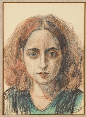 Давид Давидович Бурлюк. Портрет рыжеволосой девушки