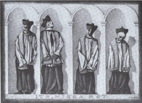 Maurits Cornelis Escher. Mummified Priests in Gangi, Sicily