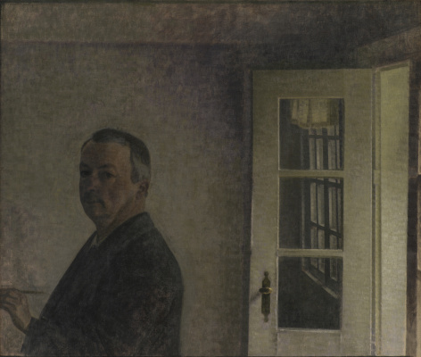 "Vilhelm Hammershøi. Self portrait. Cottage ""Sparrow Nest"" in Songenfri north of Copenhagen"