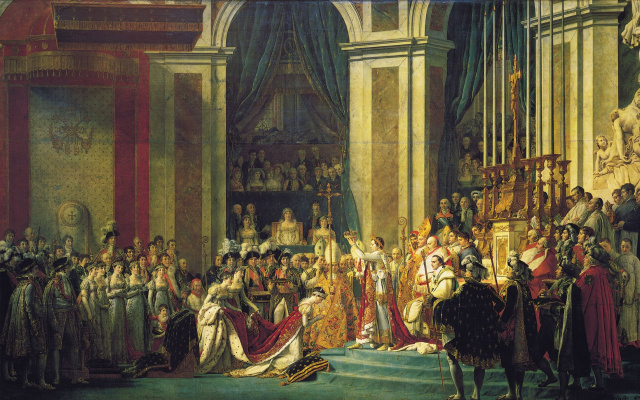 Jacques-Louis David. The coronation of Napoleon in Notre Dame Cathedral on 2 December 1804