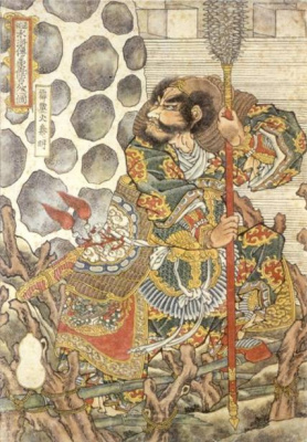 "Utagawa Kuniyoshi. Qin Min . The Thunderer. 108 heroes of the novel ""water margin"""