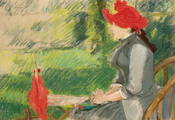 Eva Gonzalez. Reading in the garden (the woman in the red hat)
