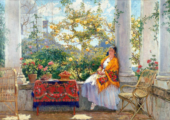 Konstantin Ivanovich Gorbatov. Stay on the porch. Portrait of the artist's wife