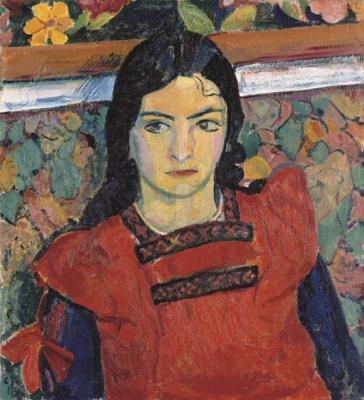 Cuno Amiè. Portrait Grete in a red apron