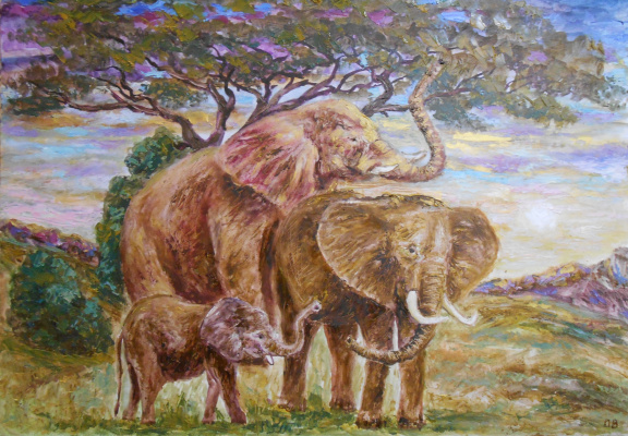 Владимир Иванович Осипов. Elephants, 65-45, © 2018