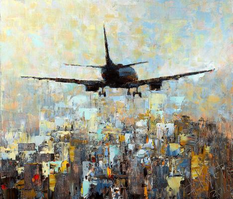 Dmitry Alexandrovich Kustanovich. Airplane over the city