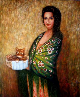 Франсиско Садорнил Сантамария. Девушка с кошкой