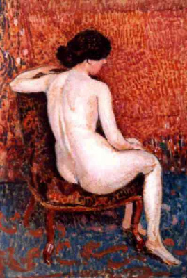 Жорж Леммен. Сидящая обнаженная женщина