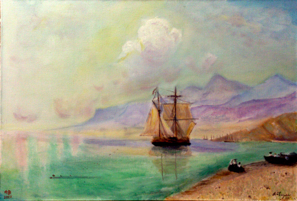 "Alexey Vladimirovich Esaulenko. Copy of the paint ""Calm"" of Ajvazovsky I.K. 1885."